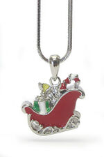 CHRISTMAS Santa Sleigh Pendant Necklace White Gold Plating Crystal Necklace