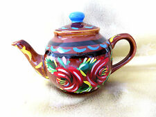 VINTAGE STAFFORDSHIRE POTTERY HANDPAINTED BARGEWARE TREACLE GLAZE SMALL TEAPOT