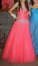 Hot Coral Studio 17 corset back Prom Pageant Quinceanera Dress Ball Gown sz 2