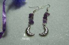 Mystical Moon drop Earrings with amethyst gemstones in gift bag silver plated