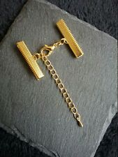 4 sets Gold Plated Crimp Ends for 30mm Wide Ribbon with 14mm Lobster Clasps