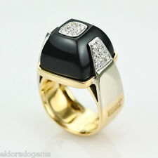 BIBIGI COCKTAIL RING BLACK ONYX 0.50 CT. DIAMOND 18K WHITE YELLOW GOLD SIZE 6.5