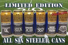 2015 COMPLETE PITTSBURGH STEELERS  SUPER BOWL  BUD LIGHT BEER CANS**ALL SIX**