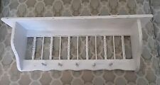 Distressed White Wood Wall Shelf Curio Display Pegs Cottage Shabby Rustic