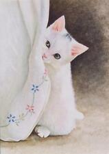 Snow White Kitten Cat Family Pet Blank Birthday or Greetings Card