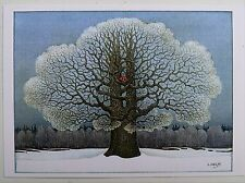 LENNART HELJE ArtPostCard The Tree of the Red Birds Sweden  FREE SHIPPING