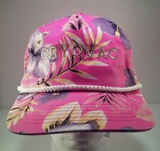 Vintage Cryovac Pink Floral Print Rope Front Snapback Hat Terry Cloth Band