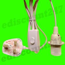 CE CERTIFIED SES E14 Edison Screw Lamp Holder (WHITE) 3 Pin Light Plug UK SELLER