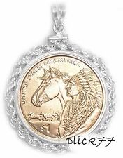 Sterling Silver  Sacagawea Indian Princess Horse Rope Coin Bezel Frame with Coin