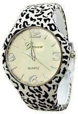 Zebra Watch Leather Bangle Animal Print Cuff Designer Classy Fashion Geneva