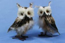 """New Set of 2 Brown Wise Hoot Owl Statue Figurine w Feathers Faux Taxidermy 5"""""""