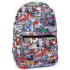 "Marvel Heroes Large School Backpack 17"" All Over Prints Book Bag Comic Stack"