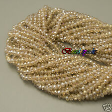 One Strand AB Gold Champagne Faceted Rondelle Glass Crystal Beads 4×3 mm CC160