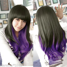 Lolita Women Long Curly Wavy Full Wigs Hair Black+Purple Cosplay Party Anime Wig