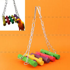 Parrot Swing Bird Toy Wooden Rat Mouse Hamster Hanging Hammock Play Toys New