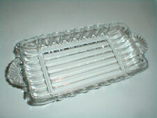 Anchor Hocking Clear Pressed Glass Rectangular Handled Relish Pickle Dish (sau17