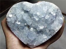 """810 g Natural  sparkling Blue Celestite """"EGG"""" mineral samples heart-shaped D 498"""