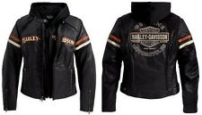 Harley Davidson Women's Miss Enthusiast Leather Jacket 3 in 1 Hood 98142-09VW 1W