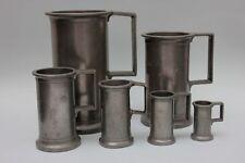 6 Apotheker-Gefäße Zinn-Messbecher mit Eichstempel, Frankreich, 19.Jahrhundert
