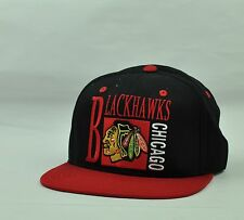 NHL American Needle Chicago Blackhawks Snapback Black Red Blockhead Flat Bill