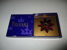 Crown Trifari Red Green Flower Rose Pin Brooch