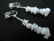 A PRETTY PAIR OF WHITE JADE  CHIPS  DANGLY CLIP ON EARRINGS. NEW.