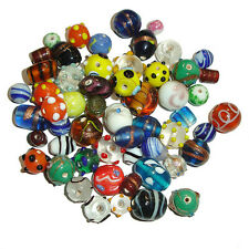 100 Grams Indian Fancy Mixed Lampwork Loose Glass Beads Hobby Crafts Necklaces