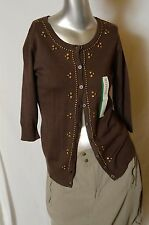 MERONA Brown Studded Front Button-Down Cardigan, 3/4 Sleeves, NWT, Medium