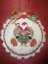 completed cross stitch ornament Just Nan Christmas Santa's riding turkey FUN!!!!