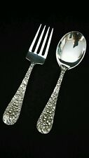 Stieff Rose Sterling Silver Baby Fork and Spoon Set 4 1/2""