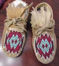 Old Plains Beaded Moccasins #4 brain tanned hide