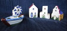 Handpainted Christmas Village 5 Pieces Ceramic House Church Building -Can Be Lit