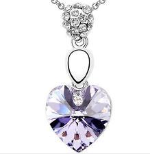 Collar Chapado en Oro Blanco 18k y corazón Color Amatista de cristal de Austria