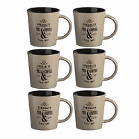Set Of 6 370ml Taupe Specialty Mugs Novelty Stoneware Tea Coffee Latte Drinks