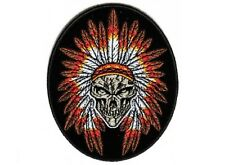 """(F4) INDIAN SKULL HEADDRESS 3.25"""" x 4 Oval iron on patch (4620) Native American"""