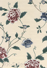 Burgundy Blue Cream Floral Large Blossom Vinyl Flower Vtg Double Roll Wallpaper