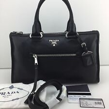 Authentic PRADA Handbag Shoulder Bag BL0805 Leather Black Zip Vitello Phenix NEW