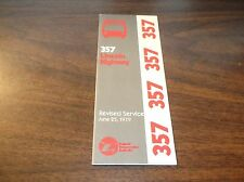 JUNE 1979 CHICAGO RTA ROUTE 357 LINCOLN HIGHWAY SERVICE BUS SCHEDULE