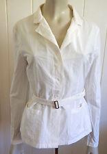 Max Mara designer cream cotton/silk crushed-look belted top size 12 (US 10)