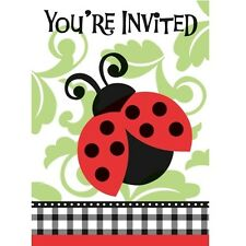 """""""Lively Ladybugs"""" Birthday Baby Shower Party Supplies INVITATIONS new nip"""