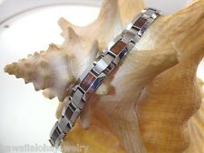 "10mm Genuine Hawaiian Inlaid Curly Koa Wood Tungsten Carbide Bracelet 9.0"" #1"