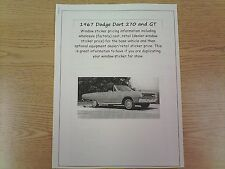 1967 Dodge Dart 270 & GT factory cost/dealer sticker prices for car & options $