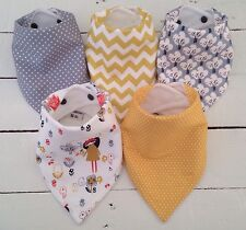 Bandana Dribble Bib Bundle x 5 Grey & Mustard Mori Prints - Lovely - Bilibib ��