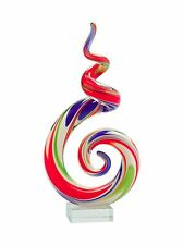 "New 11"" Hand Blown Art Glass Swirl Sculpture Figurine Statue Multicolor"