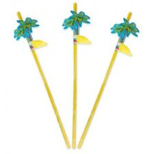 Straws with Palm Trees 24cm Plastic Assorted colours 2 packs of 8