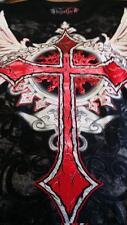 RED CROSS_FOILED TATTOO_ MEN'S FASHION_BIKER_ROCKER TEE_NEW_ BLK_SZ_L