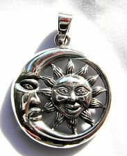 Sterling Silver (925)  Sun  In  Moon  Pendant   ( 7.5  Grams )  !!      New  !!