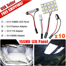 10X Festoon T10 BA9S Pure White LED 5050 15SMD Panel RV Dome Map Interior Light