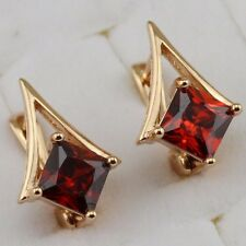 Simple Hot Garnet Red Princess Jewelry Gold Filled Huggie Woman Earrings h2651
