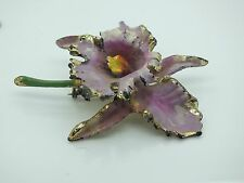VINTAGE ESTATE PLASTIC LAVENDER ORCHID FLOWER BROOCH PIN